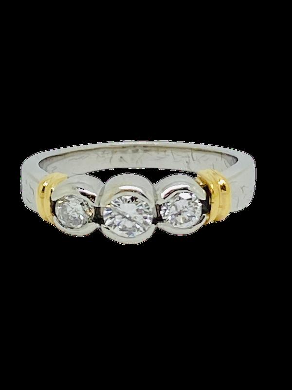18K white gold 3 stone 0.70ct Diamond Ring - image 1