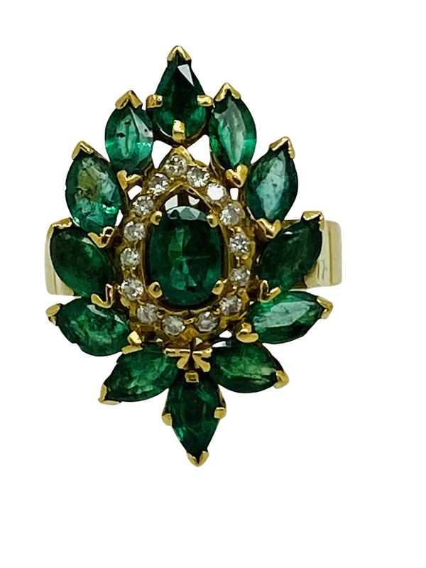18K yellow gold Natural Emerald and Diamond Ring - image 1