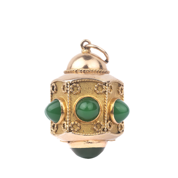 Gold and Green Onyx Lantern Pendant - image 2