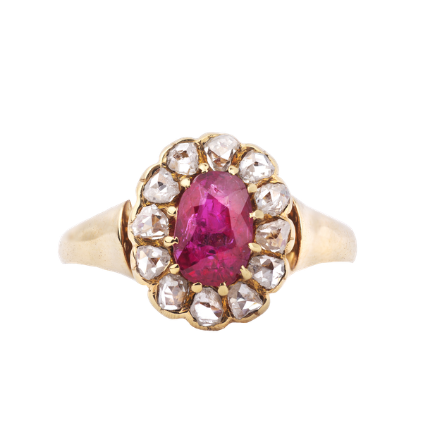 Antique Gold, Diamond and Ruby Ring - image 1