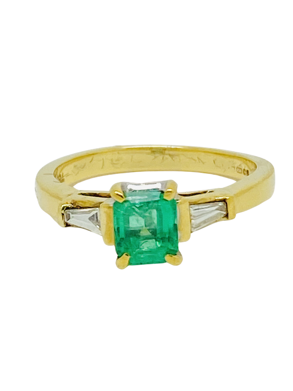 18K yellow gold 0.90ct Natural Emerald and 0.20ct Diamond Ring - image 1