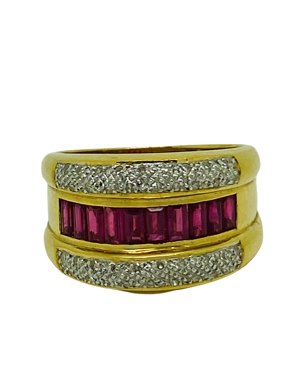 18K yellow gold 1.00ct Natural Ruby and 0.20ct Diamond Ring - image 2