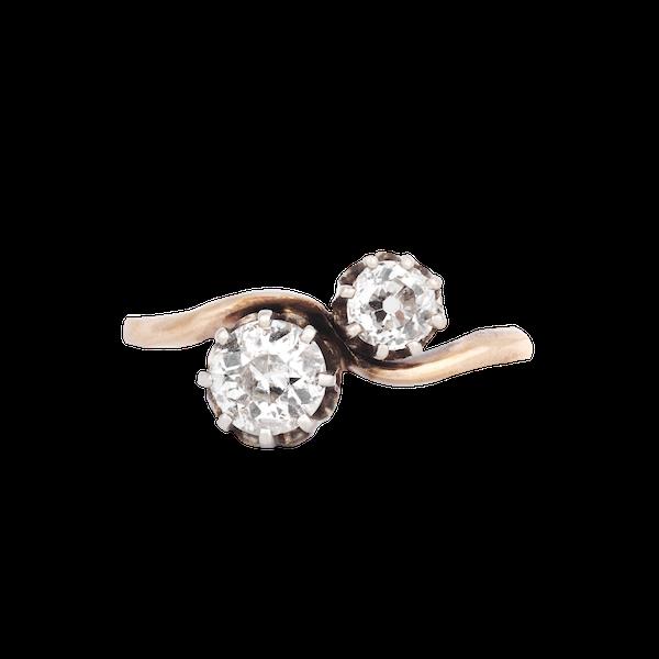 Gold, Two Stone Twist Diamond Engagement Ring - image 1