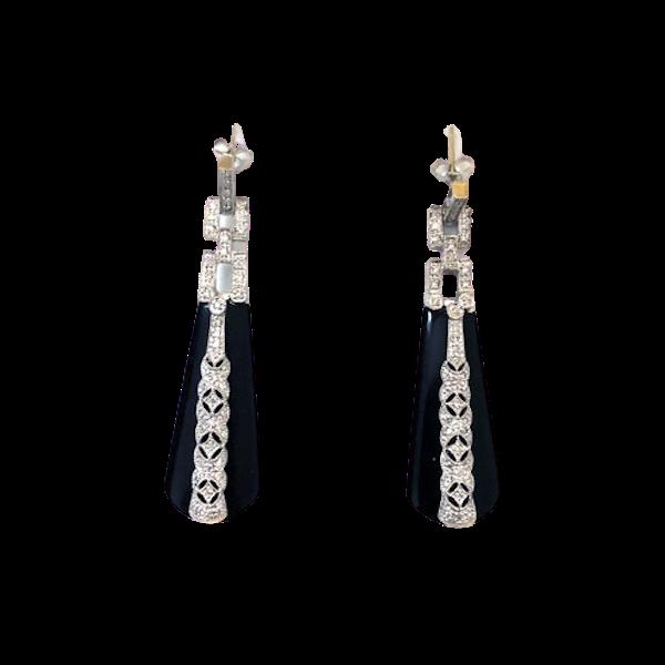 White Gold Onyx Diamond Drop Earrings - image 1