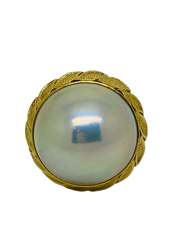 18K yellow gold Pearl Ring - image 1
