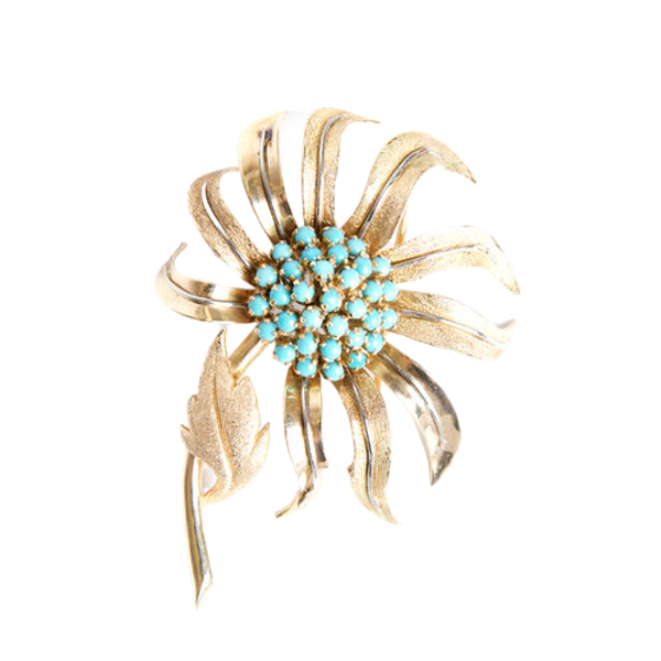 Gold and Turquoise Flower Brooch - image 1