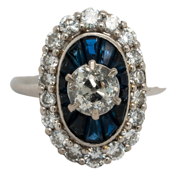 18K white gold 1.00ct Natural Blue Sapphire and 1.25ct Diamond Ring - image 5