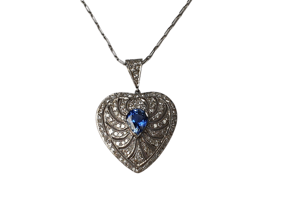 Art deco sapphire and diamond heart pendant - image 1