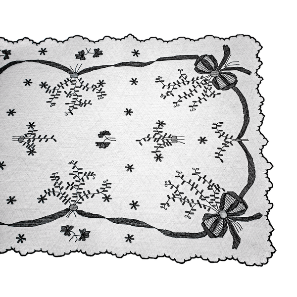 Black and white embroidered net stole - image 1