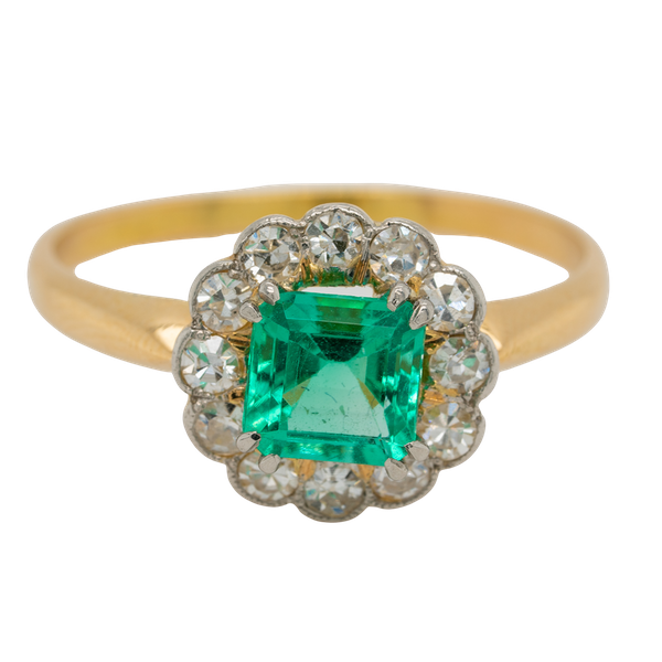 Emerald and diamond Art Deco round cluster ring - image 1