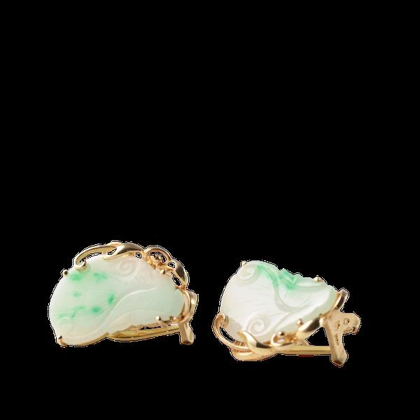 1970s, 14ct Yellow Gold Jade stone set Earrings, SHAPIRO & Co - image 1