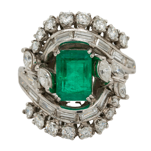 Emerald and diamond fancy cluster ring in platinum - image 1