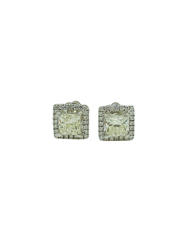 18K White Gold 2.24ct Diamond Studs Earrings - image 3