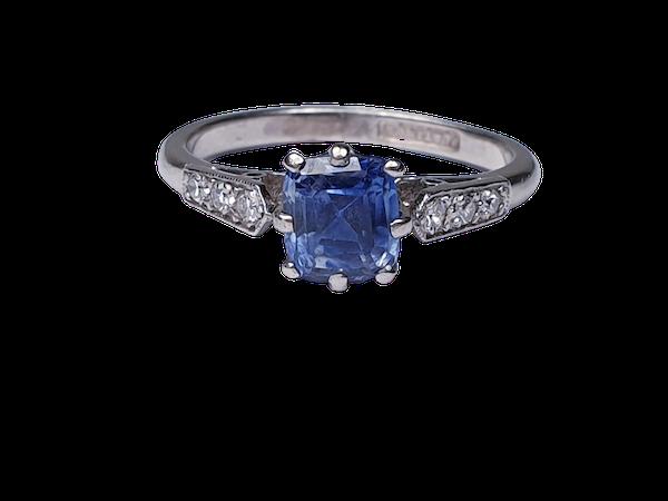 Ceylon sapphire and diamond engagement ring  DBGEMS - image 5