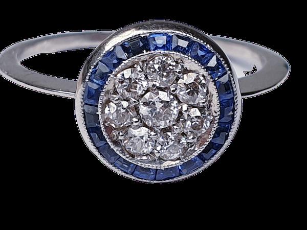 Art deco sapphire and diamond halo engagement ring  DBGEMS - image 6