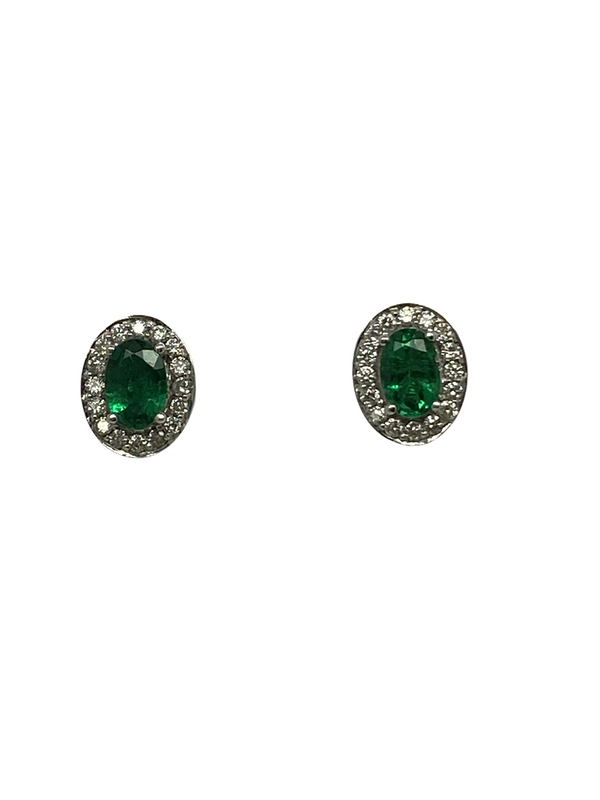 18K white gold Natural Emerald and Diamond Earrings - image 1