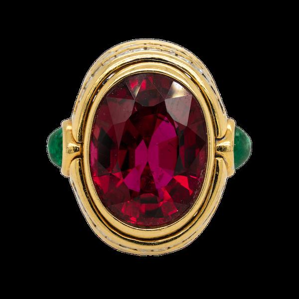 Large red tourmaline (rubellite)  ring - image 1