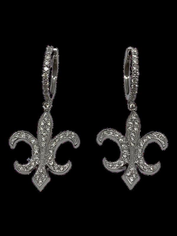 18K white gold Diamond Earrings - image 1