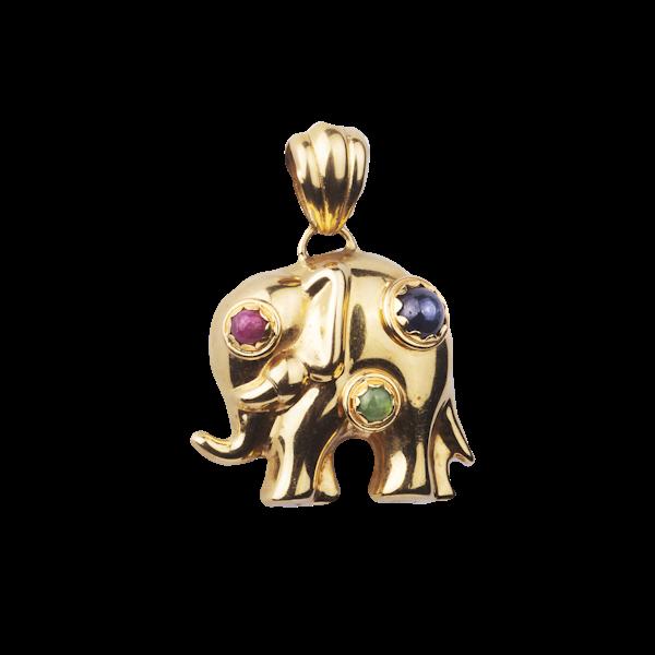Gold Elephant Pendant - image 1