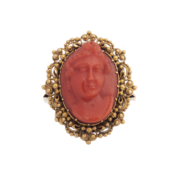 Antique Gold and Coral Cameo Ring - image 1
