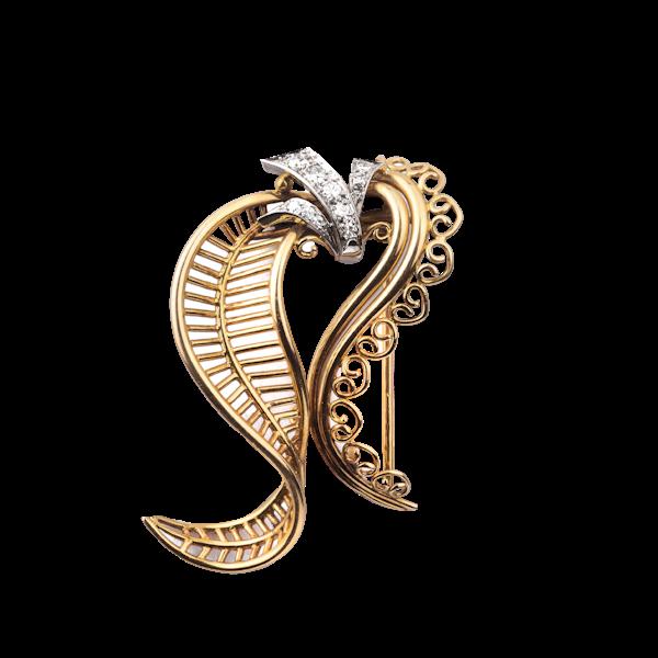 Art Deco Gold and Diamond Brooch - image 1