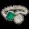 Emerald and diamond crossover  Art Deco ring - image 1