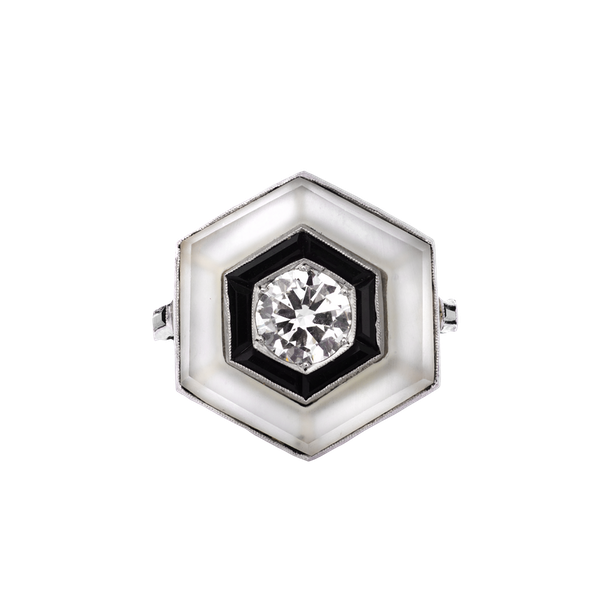 Art Deco Platinum and Diamond Ring - image 1