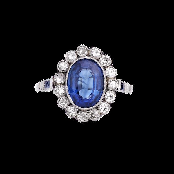 Art Deco Platinum, Diamond and Sapphire Ring - image 1