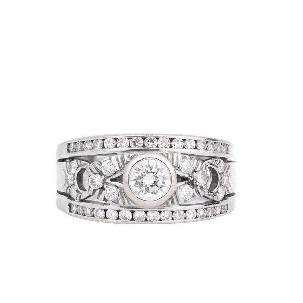 Antique White Gold and Diamond Ring - image 1