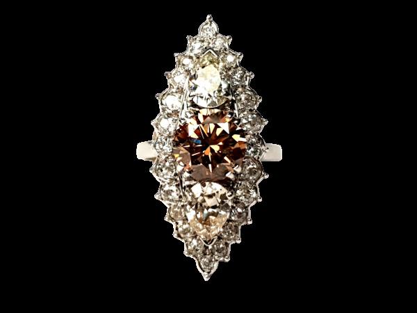 2.60ct cognac diamond and pair shaped diamond navette ring  DBGEMS - image 6
