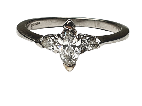 Marquise and pear shaped diamond engagement ring  DBGEMS - image 1