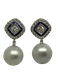 18K white gold Pearl, Diamond and Natural Blue Sapphire Earrings - image 1