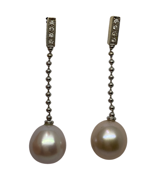 """""""Boodles"""" 18K white gold Diamond and Pearl Earrings - image 1"""