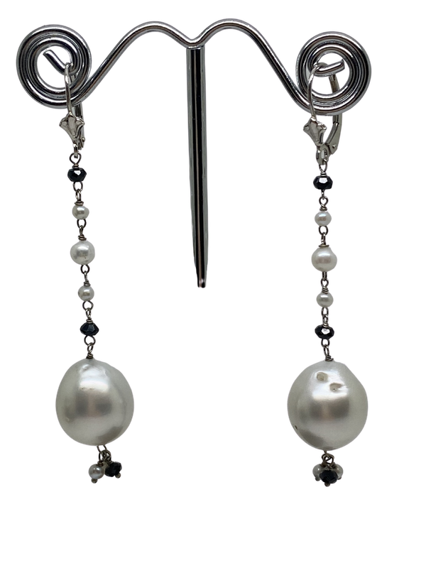 18K white gold Pearl Earrings - image 1