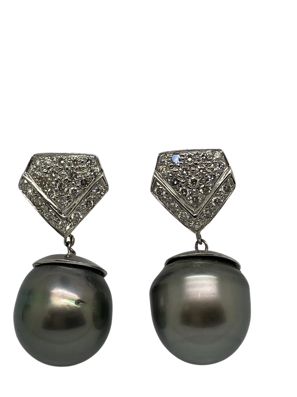 18K white gold Pearl and Diamond Earrings - image 1