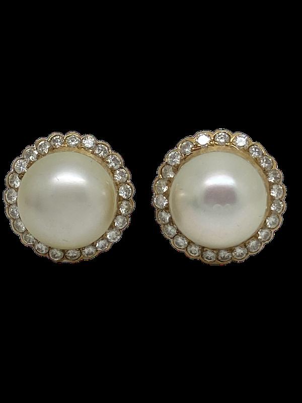 18K yellow gold Diamond and Pearl Earrings - image 1
