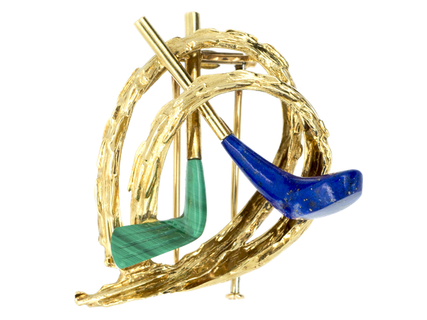 Vintage Chaumet of Paris Gold Golfing Clip Brooch with Lapis Lazuli & Malachite, French circa 1960. - image 1
