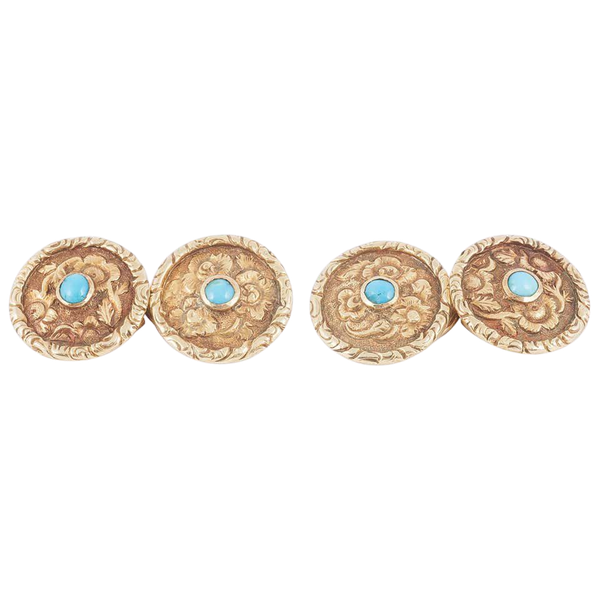 Antique Carved Gold Floral Cufflinks with Turquoise Centre, English circa 1840. - image 1