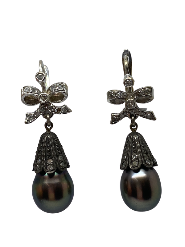 18K white gold Diamond and Pearl Earrings - image 1