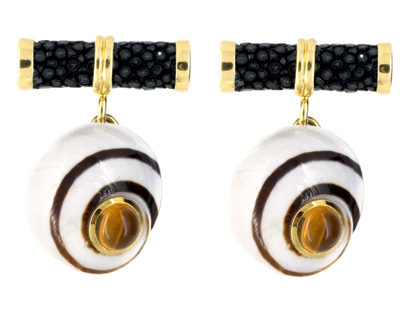 Vintage Shell Cufflinks by Trianon in 18 Karat Gold, Citrine & Striated Enamel, American circa 1960. - image 1