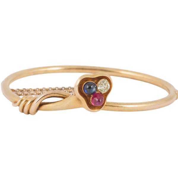Antique Bangle/Bracelet 18 Carat Gold, Diamond, Ruby and Sapphire, *English circa 1890. - image 6