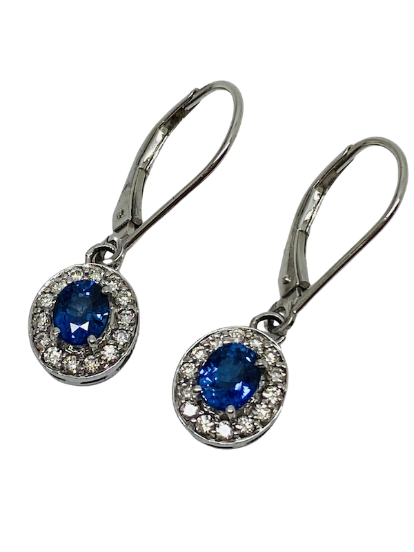 14K white gold Diamond and Natural Blue Sapphire Earrings - image 1