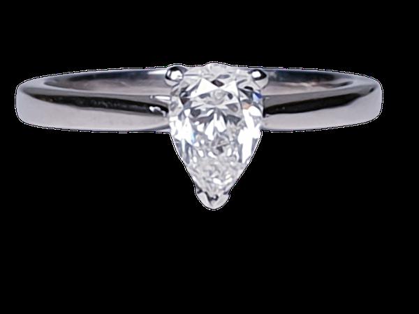 Pear shaped diamond engagement ring 4682  DBGEMS - image 1