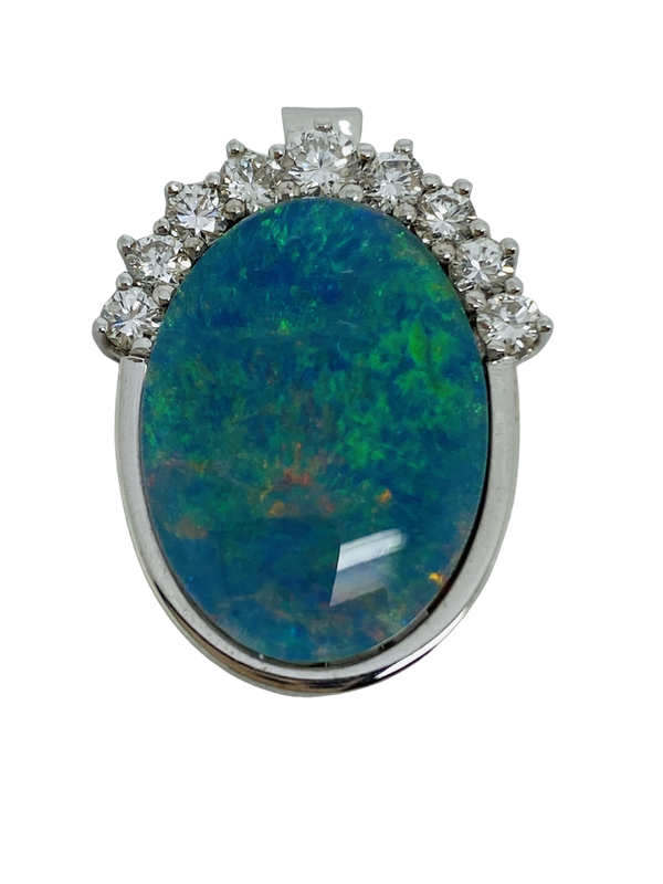 14K white gold Diamond and Opal Pendant - image 1