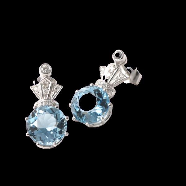 Date: circa 1910, 18ct White Gold Aquamarine & Diamond stone set Earrings, SHAPIRO & Co since1979 - image 1
