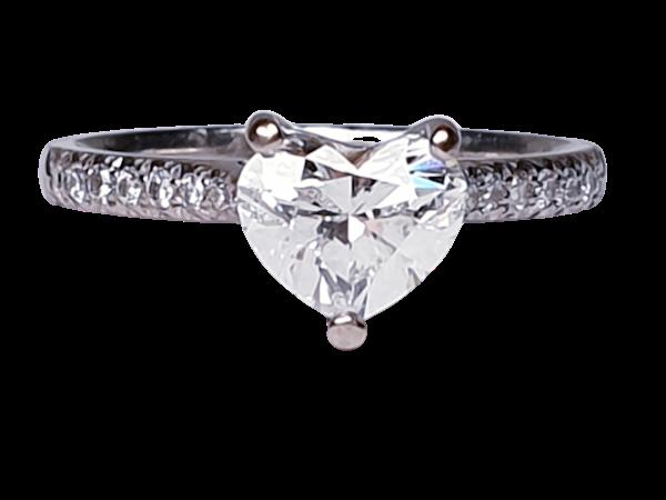 Heart shape F colour Flawless diamond engagement ring  DBGEMS - image 1