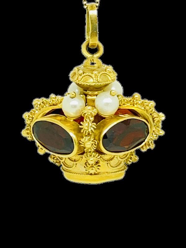 18K yellow gold Garnet and Pearl Pendant - image 1