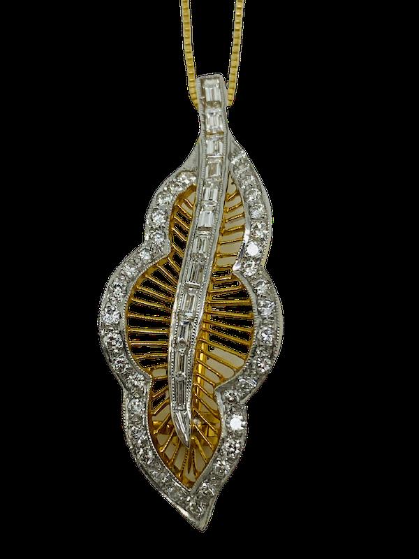 18K yellow gold Diamond Pendant/Brooch - image 1
