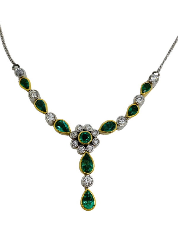 18K white/yellow gold Natural Emerald and Diamond Necklace - image 1