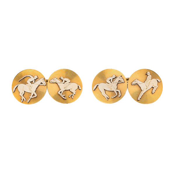 Antique Cufflinks of Racehorses in Platinum and 18 Karat Gold, French circa 1900. - image 1